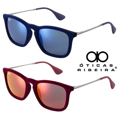 Ray Ban Chris Velvet! Novas cores! Em azul escuro e vinho, um luxo! Óculos  em veludo, lentes espelhadas combinando com a armação! 27a6f0fe51
