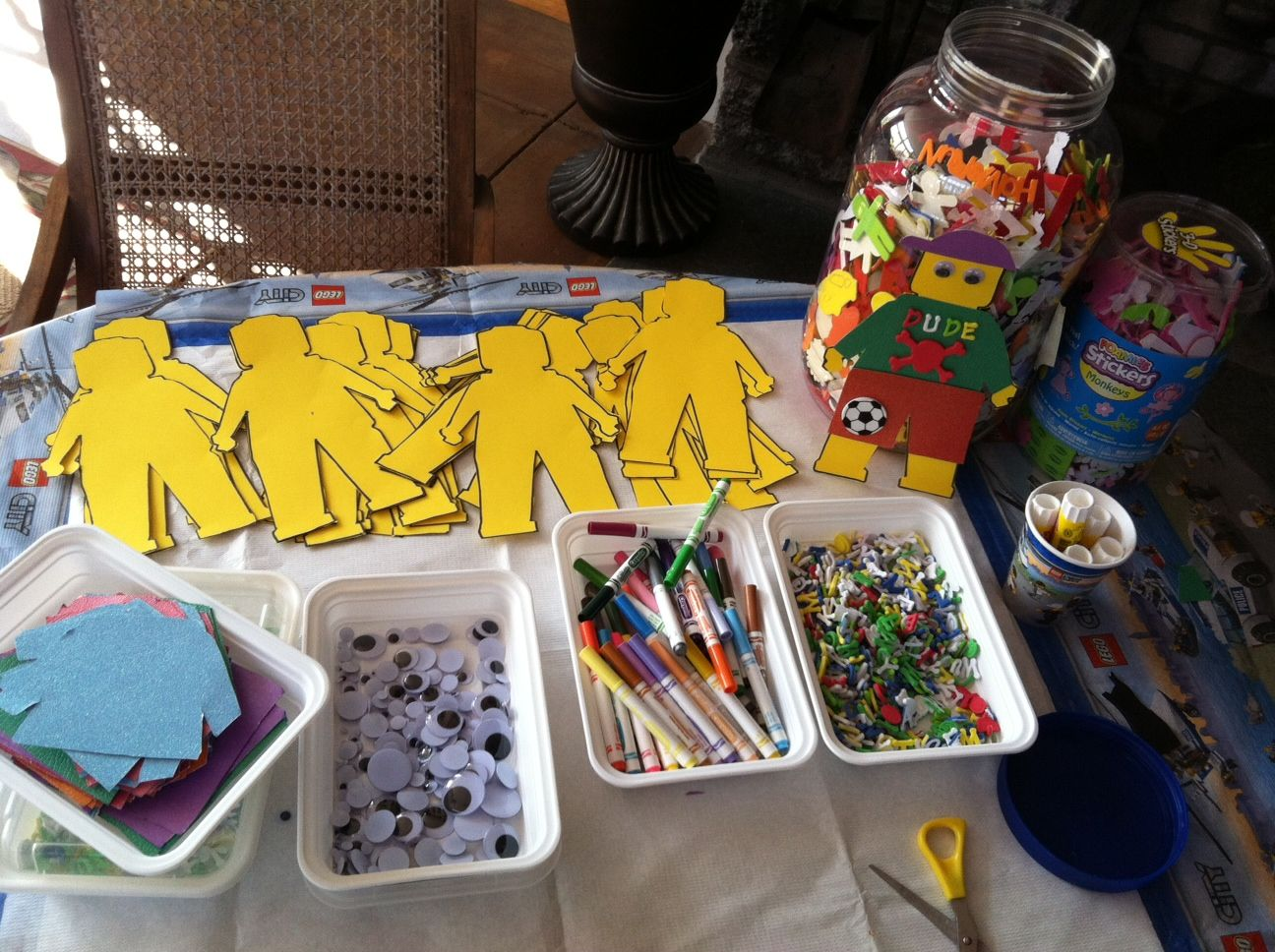 Kids Party Craft Ideas Part - 31: Lego Party Ideas - Slight Variation. We Did LEGO People Coloring Sheets.  The Kids