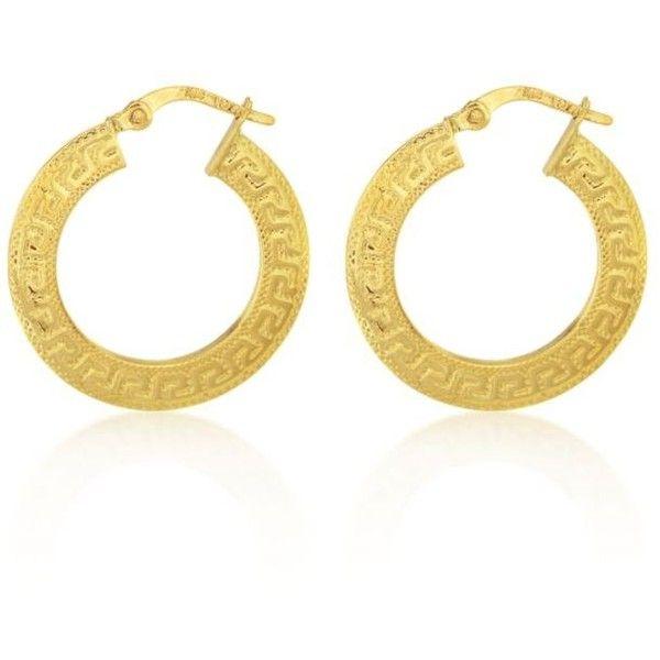 Yellow Gold 14k Greek Key Hoop Earrings 315