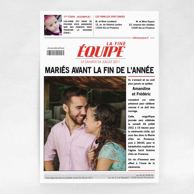 Faire-Part Mariage Humoristique, Magazine Sportif, La fine équipe