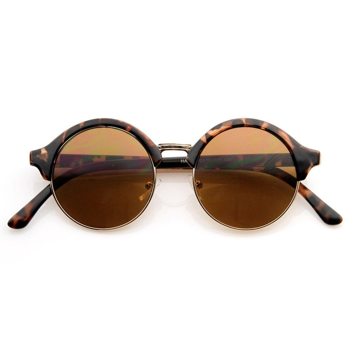 Vintage Inspired Classic Half Frame Semi-Rimless Round Circle Sunglasses