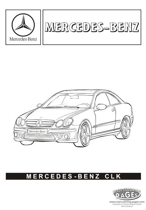 mercedes benz clk cars coloring pages