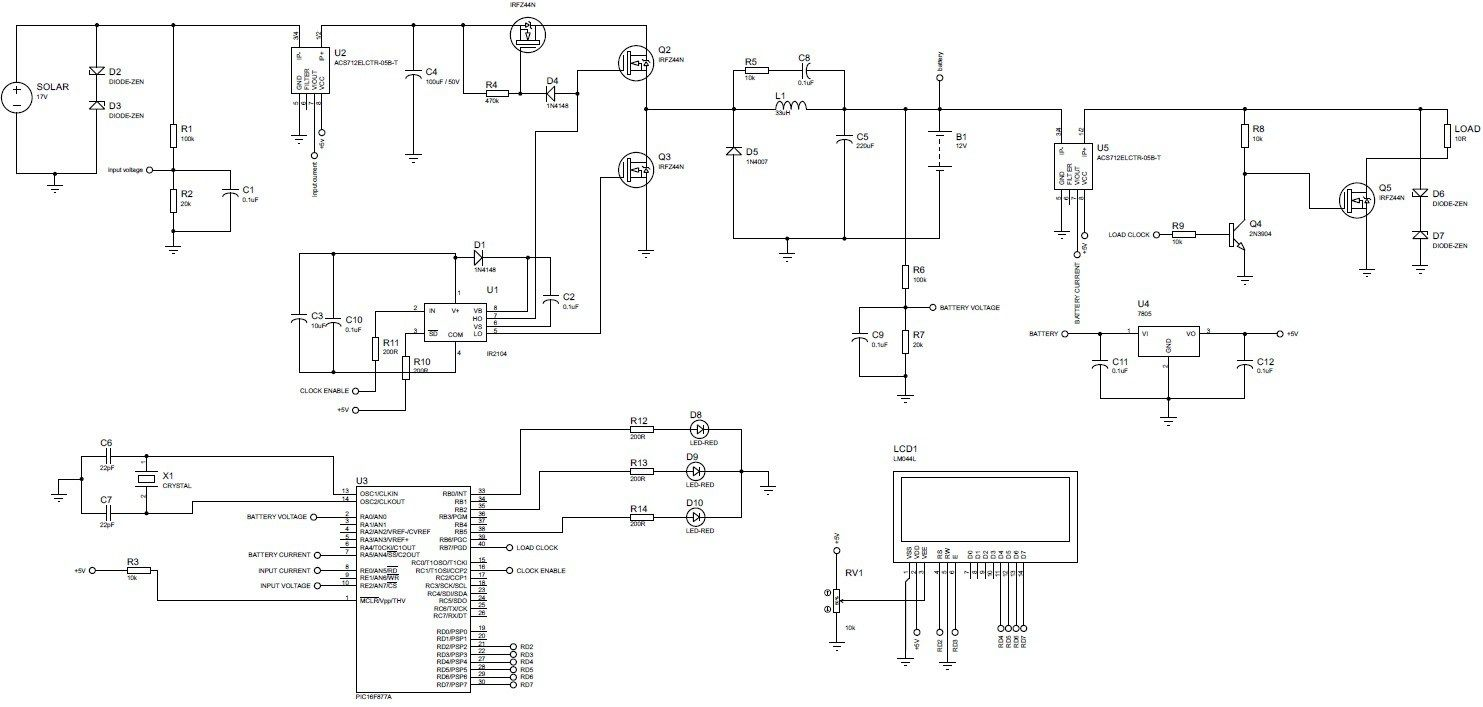 mppt based charge controller circuit diagram [ 1483 x 707 Pixel ]