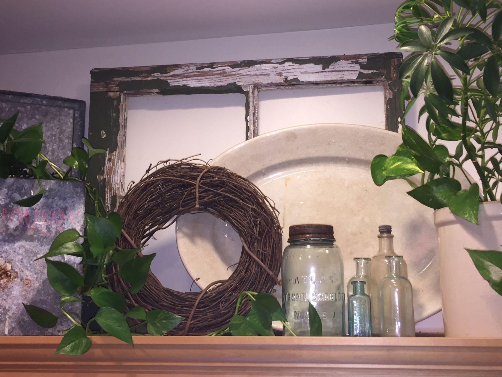 Kitchen Cabinet Decor Above Greenery