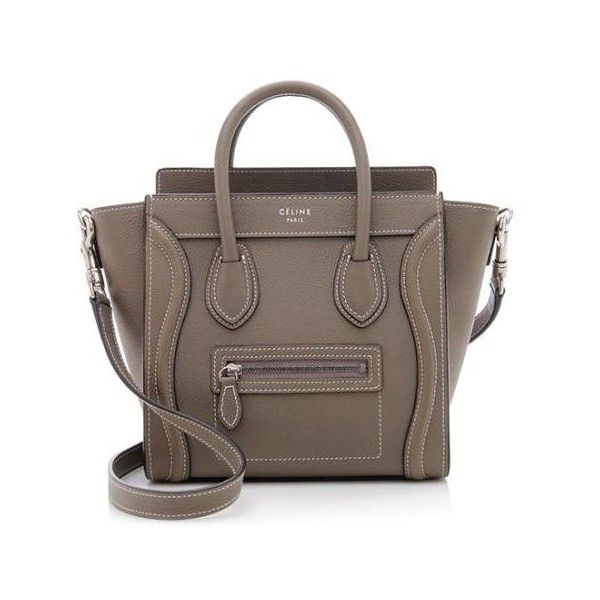 102793b997b2 Rental Celine Pebbled Leather Nano Luggage Tote ( 300) ❤ liked on Polyvore  featuring bags