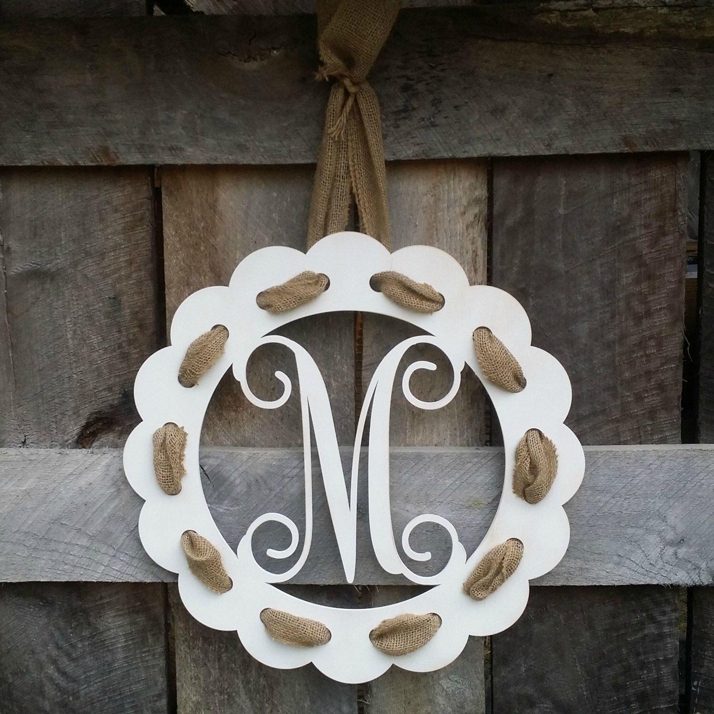Painted Initial Door Hanger With Burlap Ribbon   Distressed Personalized  Door Hanger   Wall Hanging   Housewarming Gift   Wedding Gift