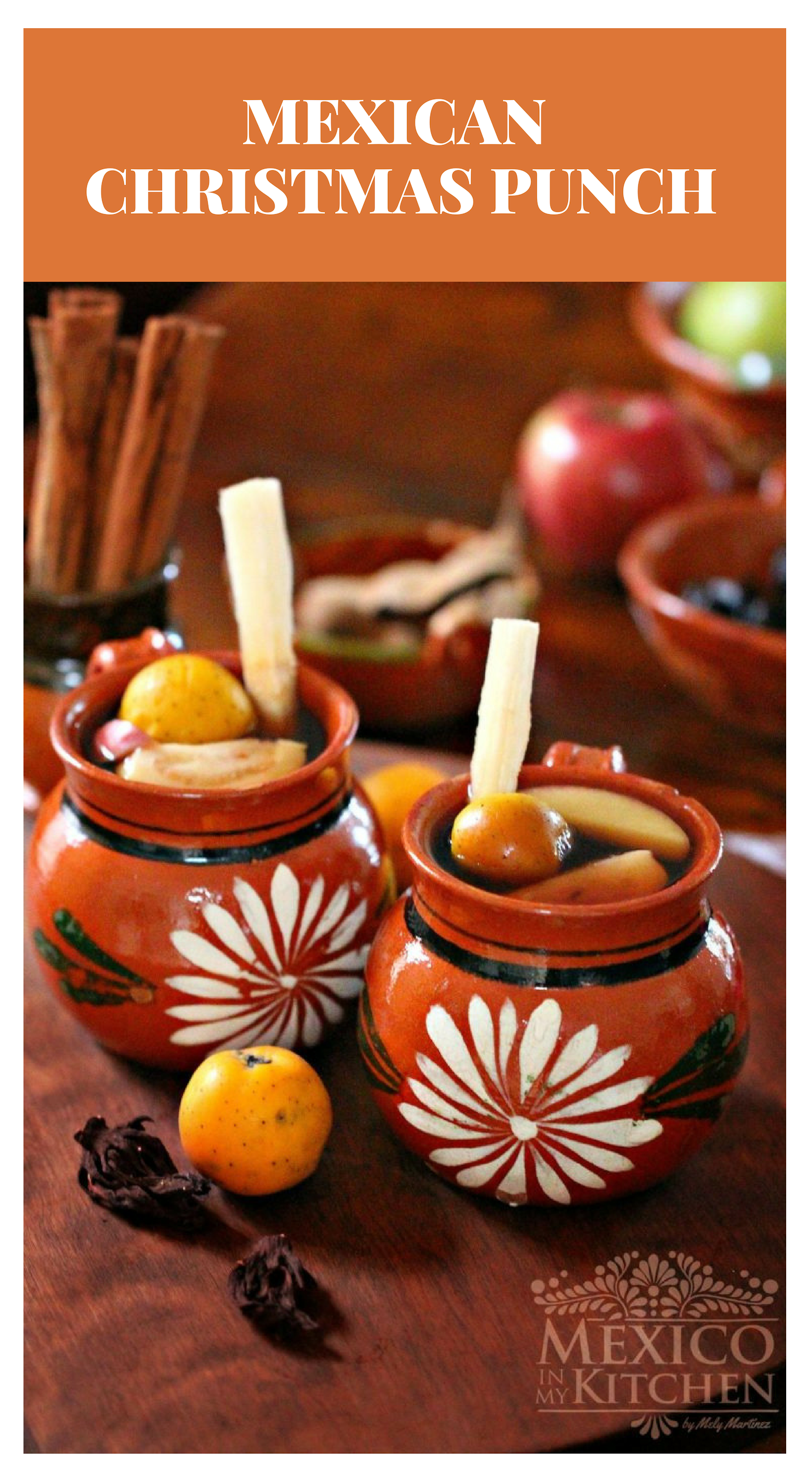 How to make Mexican Cristmas Punch │ Ponche Navideño, is a traditional hot drink during the Christmas Holidays, it is made using water, fresh and dried fruits like tamarind, prunes, hibiscus, sugar cane, cinnamon, and sweetened with Piloncillo. You can serve it with or without alcohol. Mexican Cristmas Punch │#mexicanfood