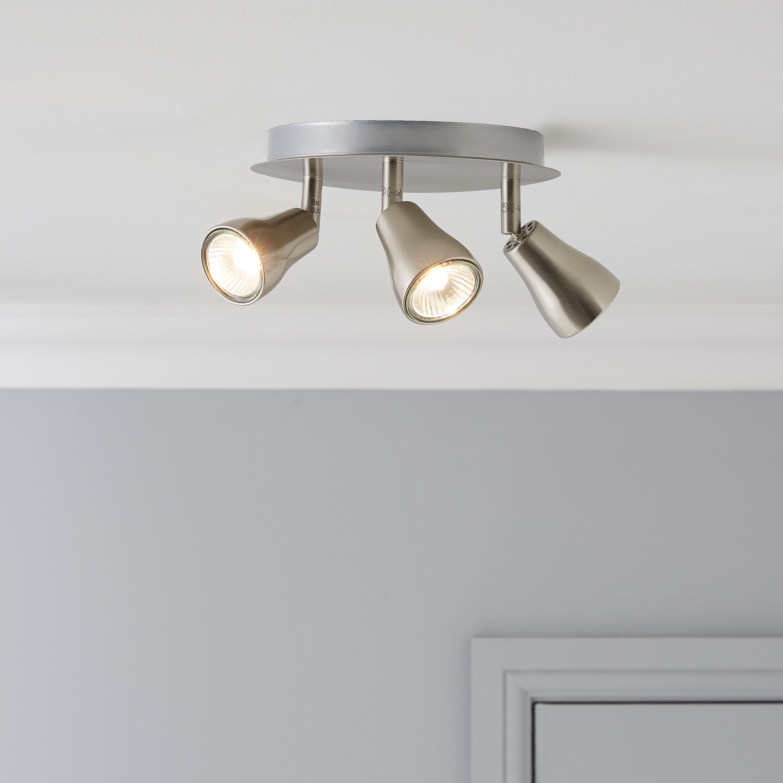Jupiter Brushed Chrome Effect 3 Lamp Spotlight Plate Departments