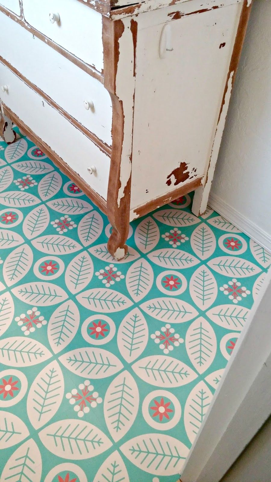 Half bath redo the happiest floors on the block adhesive vinyl flooring ideas dailygadgetfo Images