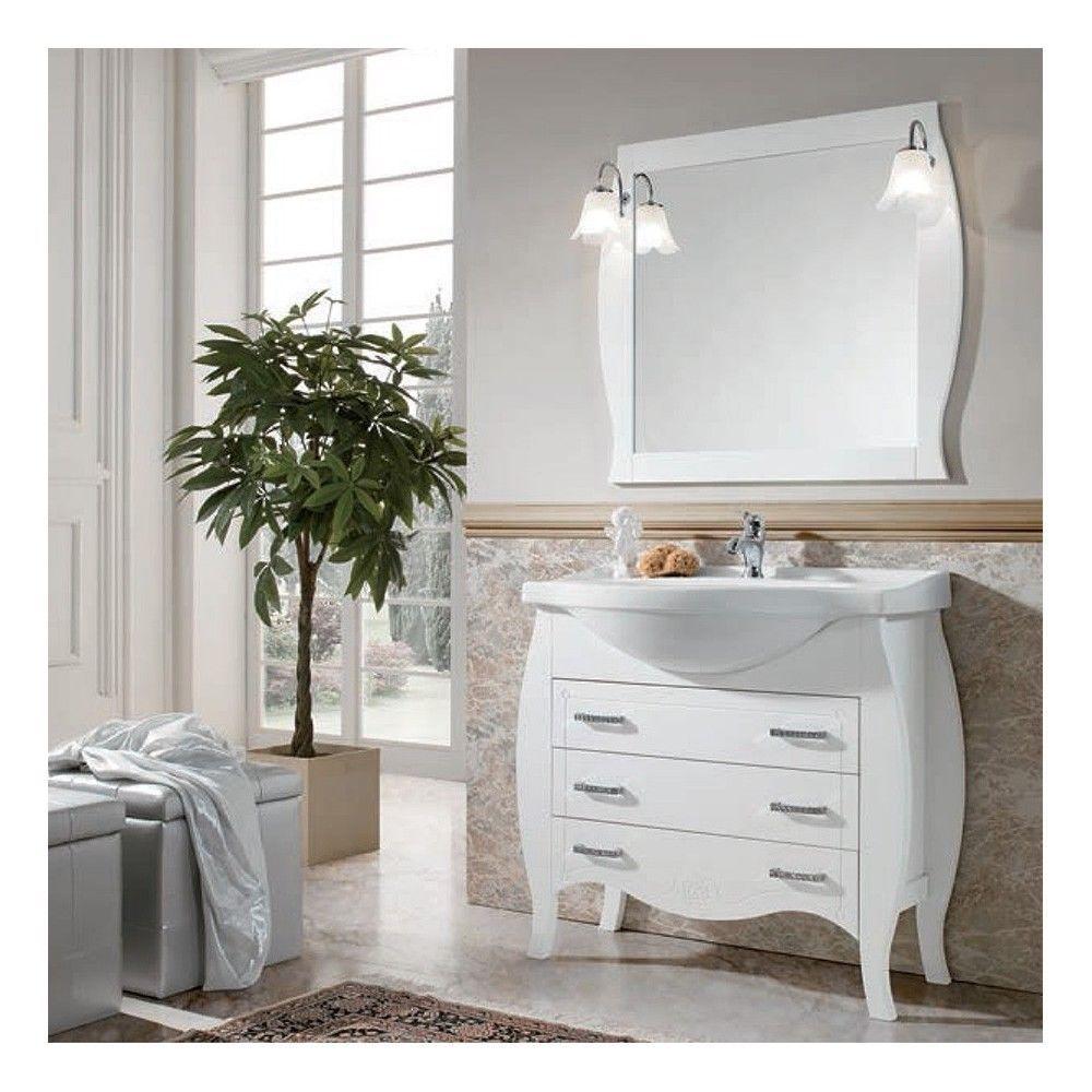 Mobile bagno 95 cm contemporaneo in legno bianco opaco shabby   Home ...