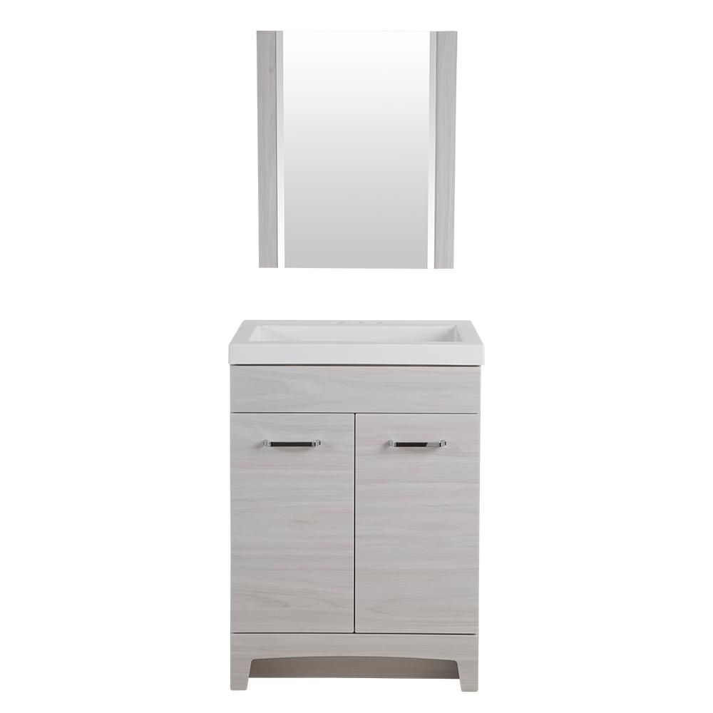 Glacier bay stancliff 24 5 in w vanity in elm sky with cultured marble vanity top in white with - Cultured marble bathroom vanity tops ...