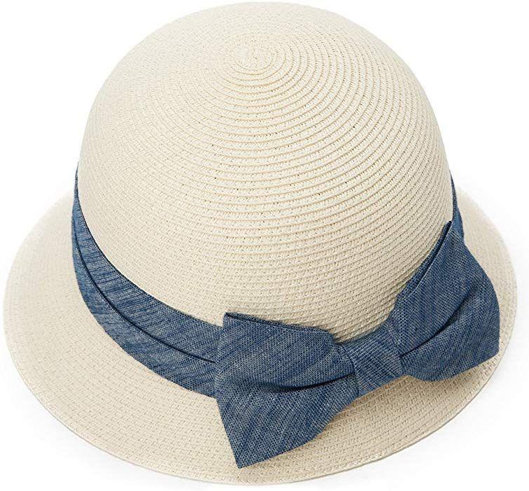 d2257f18857 SIGGI Womens Floppy Summer Sun Beach Straw Hats SPF50+ Crushable Bucket  Cloche Hat 56-59cm White at Amazon Women s Clothing store