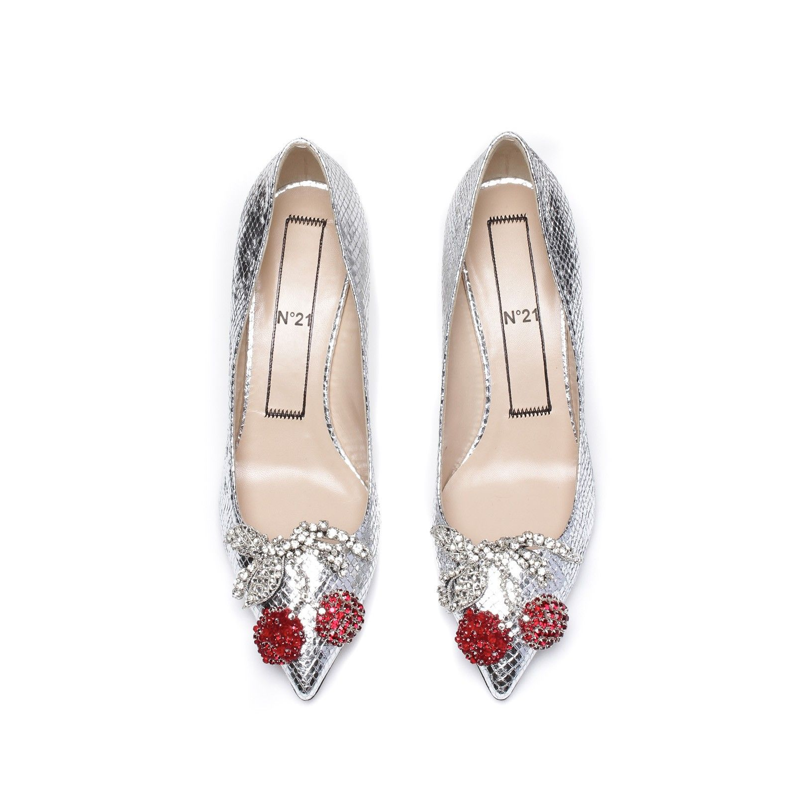 3afa6335d8c Silver heel pumps with cherries embroidery. Very rare Dolce   Gabbana  Runway Cage Heel Shoes Piece of Art!