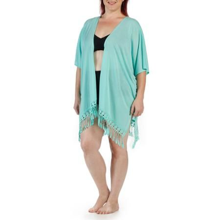 Catalina Women's Plus-Size Fringe Kimono Swim Cover-Up