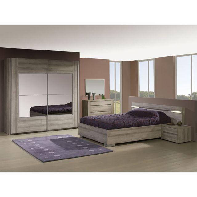 Altobuy Parker - Chambre 140x200 avec Armoire 220cm