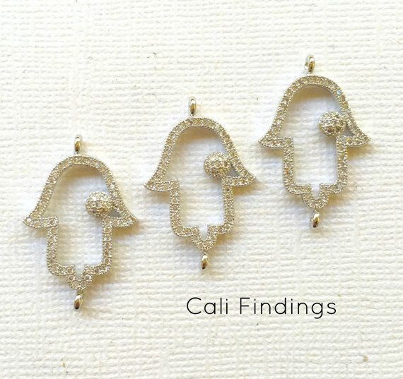 Rhodium Plated Hamsa Connector Pave Hamsa Silver by CaliFindings