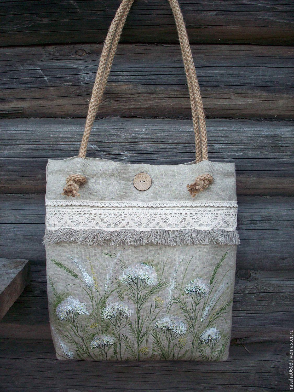 9b5bee9e Купить Льняная сумка с росписью...Тысячелистник в интернет магазине на  Ярмарке Мастеров