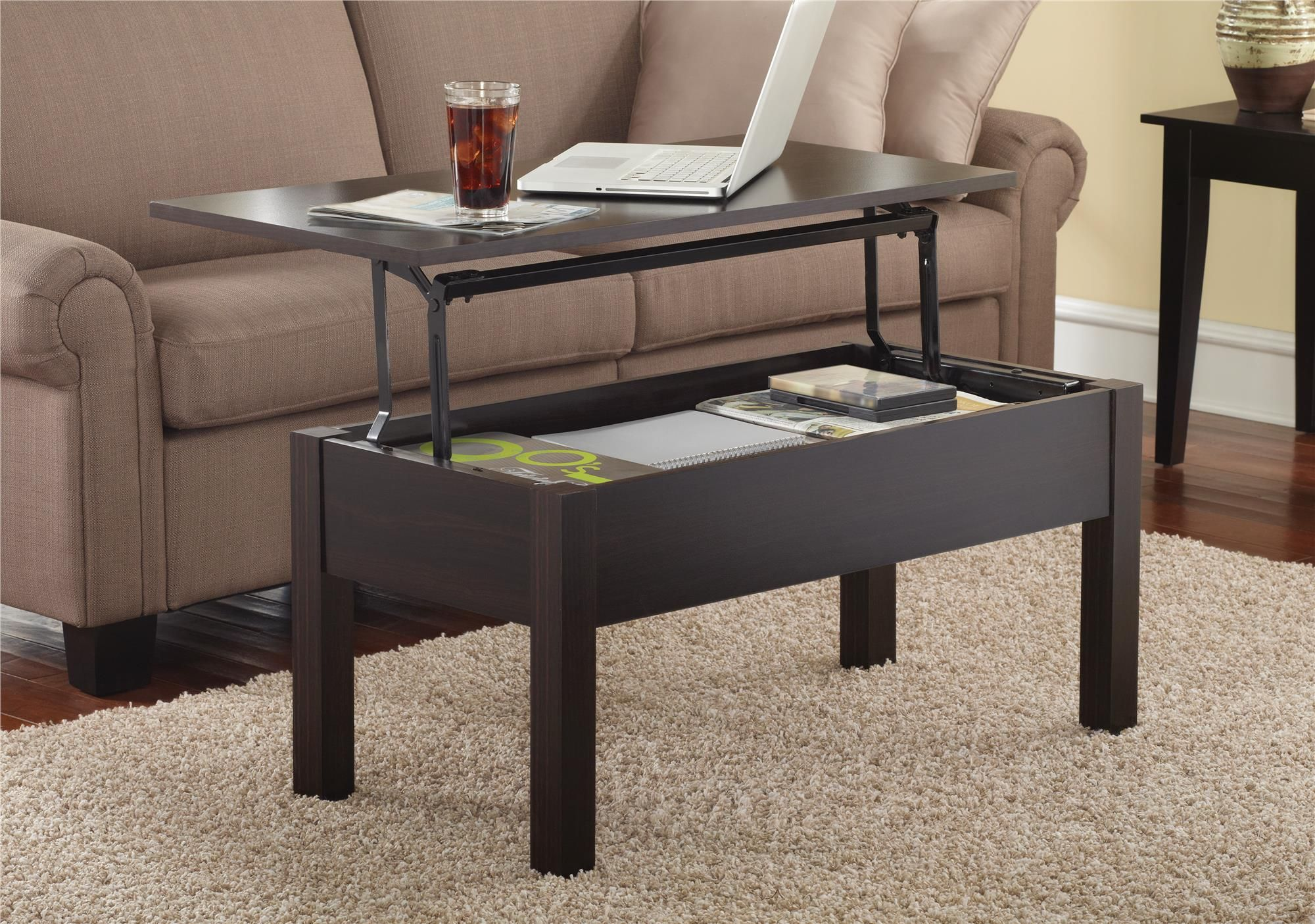 lift up top coffee table with under storage shelf modern