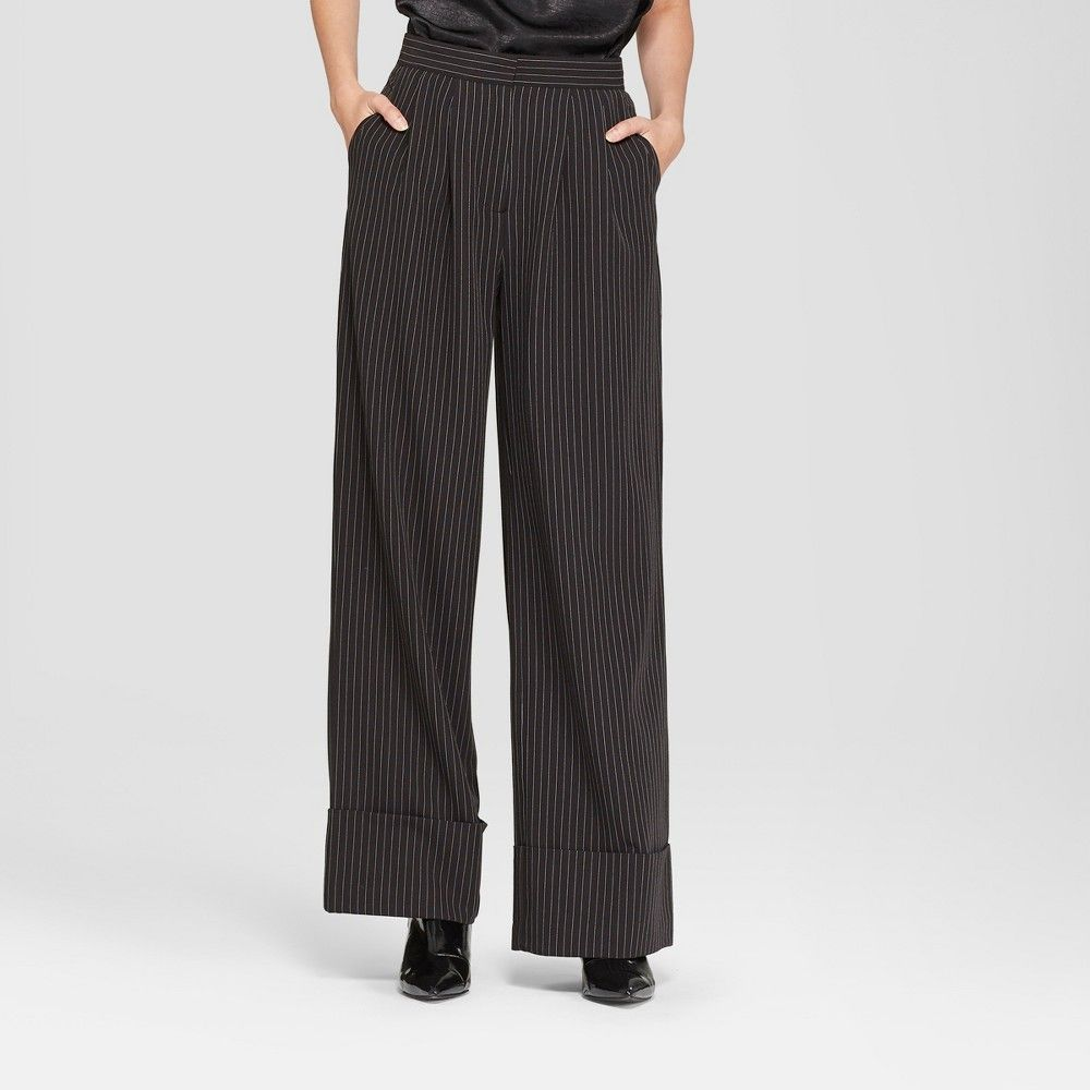 Modern Chic Style Goes Business Savvy With The Wide Leg Pinstripe Pants From Prologue Thin White Pinstripes Over Blac Wide Leg Pants Pinstripe Pinstripe Pants [ 1000 x 1000 Pixel ]