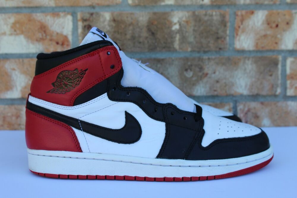 sale retailer 57cfb b6527 eBay  Sponsored Men s Nike Air Jordan 1 Retro Hi OG Black Toe 2013 Red White  Size 9 555088 184