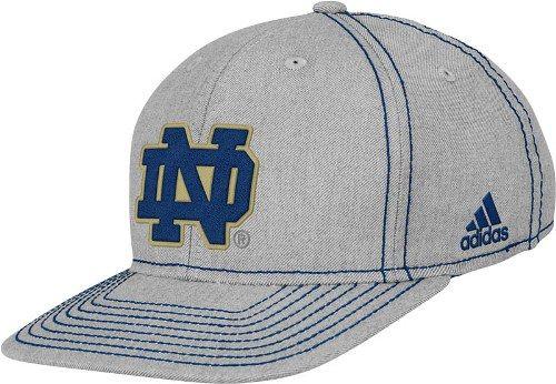 0d16963bc22 Notre Dame Fighting Irish Adidas Grey Flat Visor Flex Hat