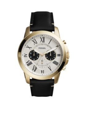 Fossil White Grant Chronograph Black Leather Watch