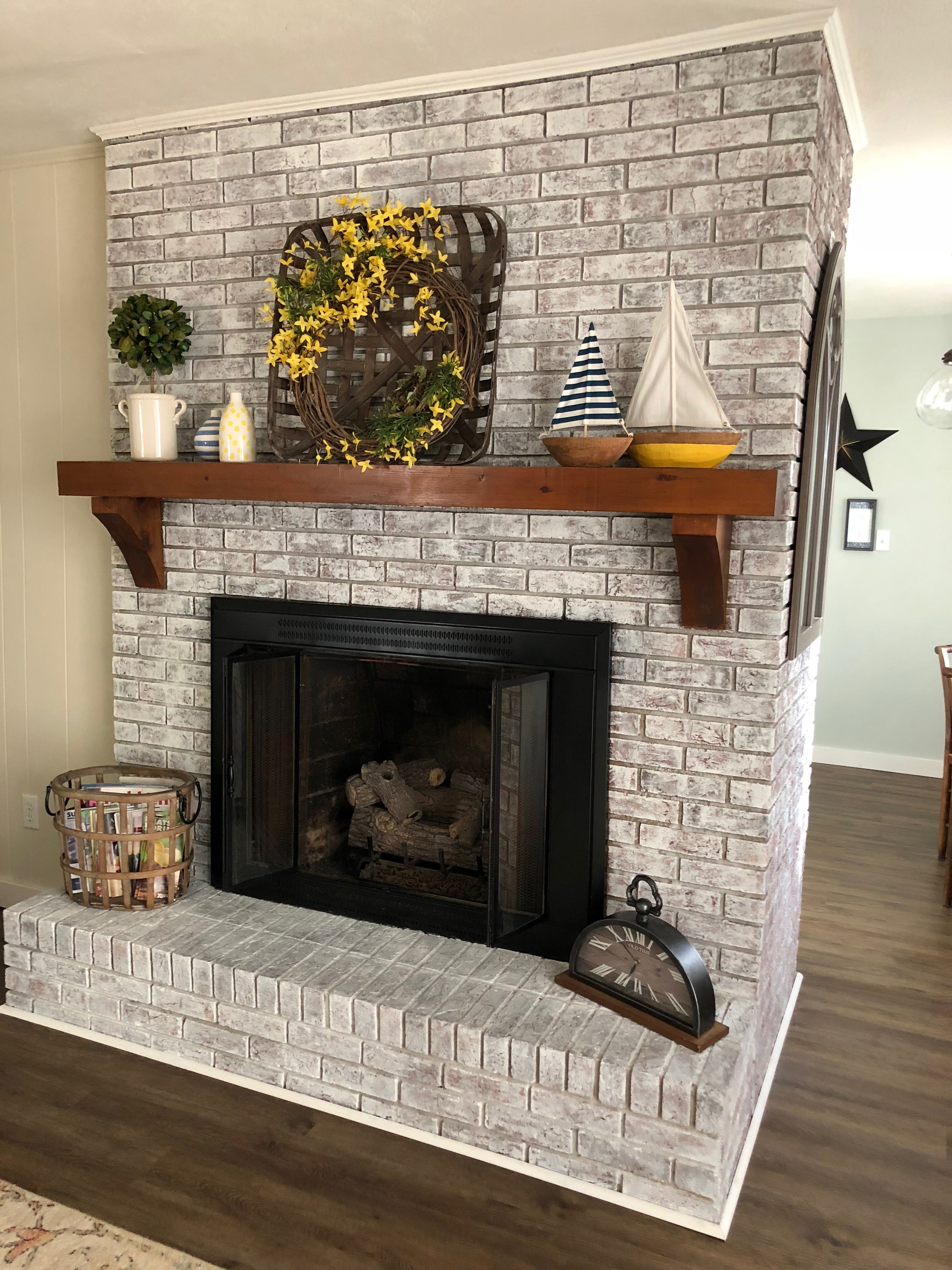 Painted Brick Fireplace Sw Pure White Over Dark Red Brick Boats Vases Target Toba Brick Fireplace Decor White Wash Brick Fireplace Painted Brick Fireplaces