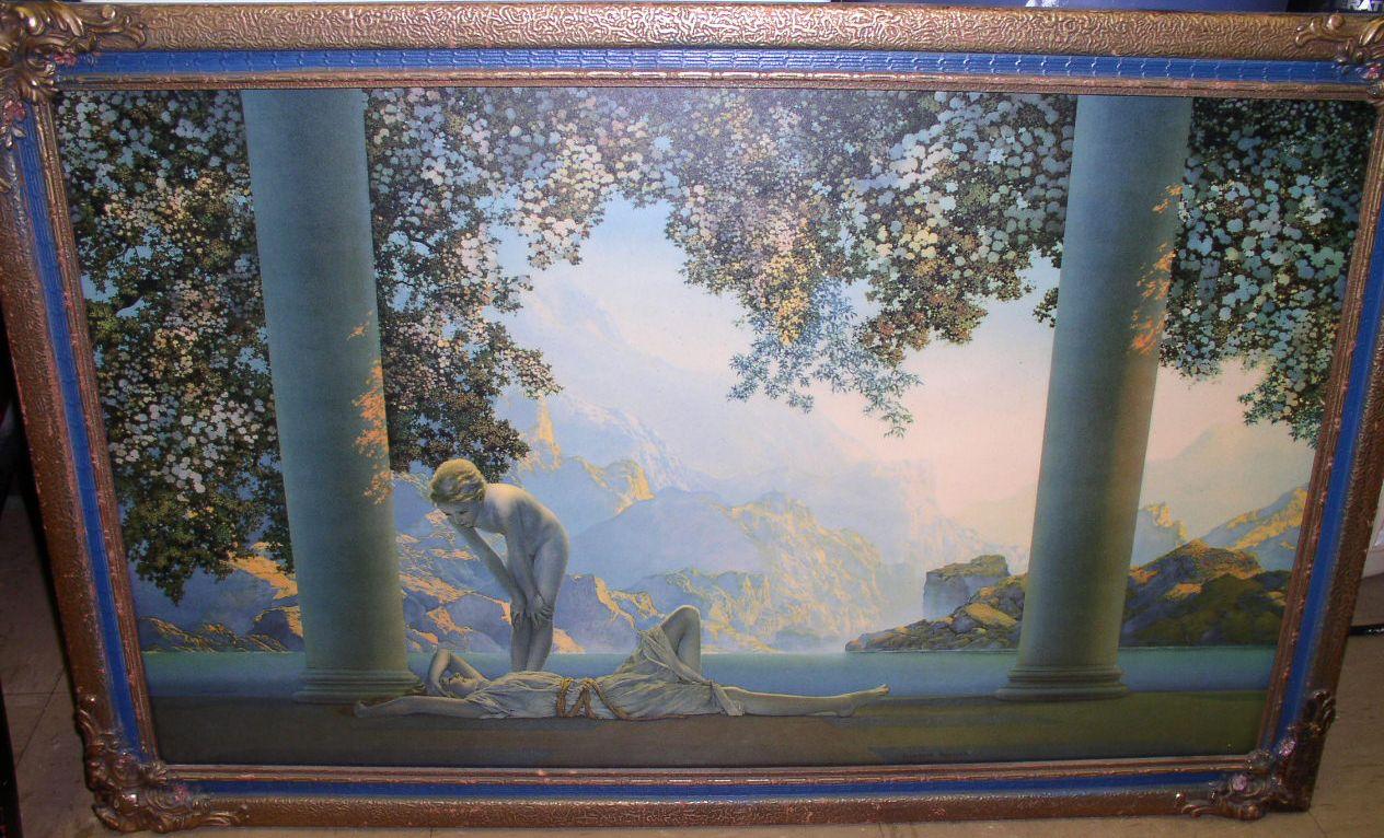 """Original Maxfield Parrish print """"Daybreak"""" in original period frame  $395"""