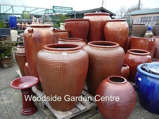 Marvelous Large Glazed Copper Red Dimple Jar Garden Pot | Woodside Garden Centre |  Pots To Inspire