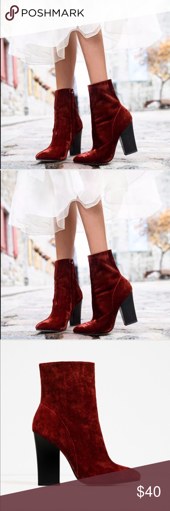 Zara red velvet boot Size 10 Zara Shoes