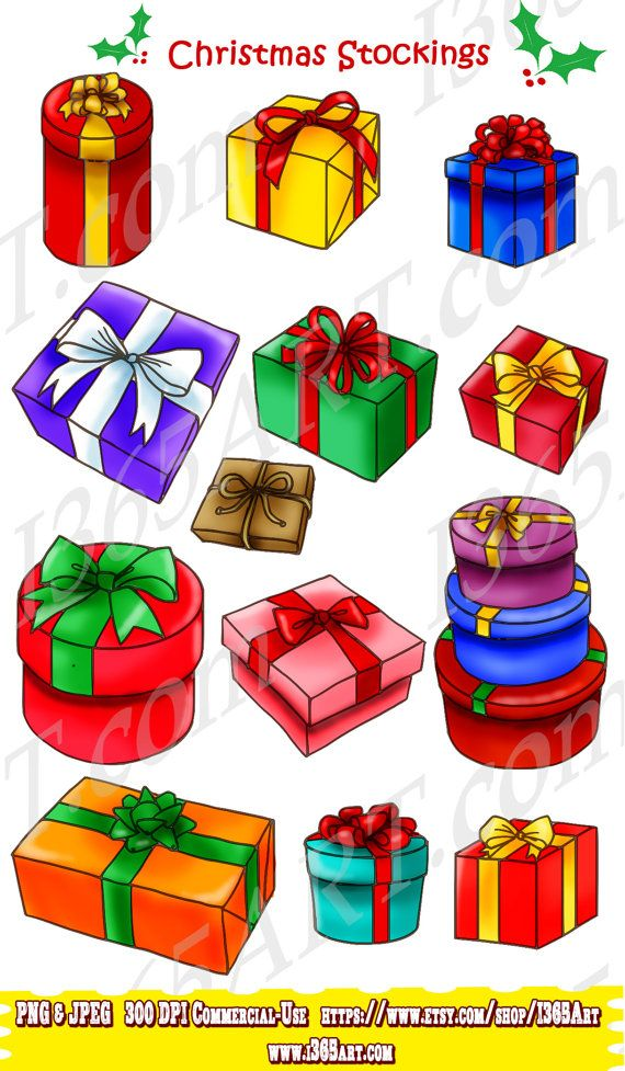 Merry Christmas Gift Boxes Clipart Pack Presents By I365Art