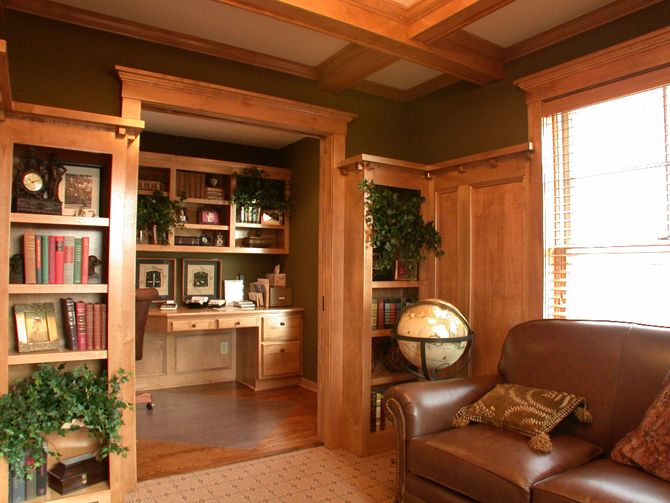 Craftsman with coffered ceiling, grand entryway, wood ...