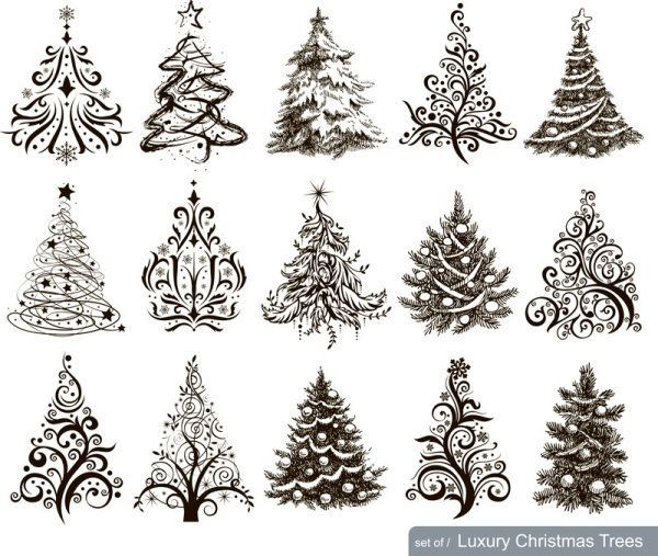 christmas pictures to draw  Hand drawn Christmas tree mix design