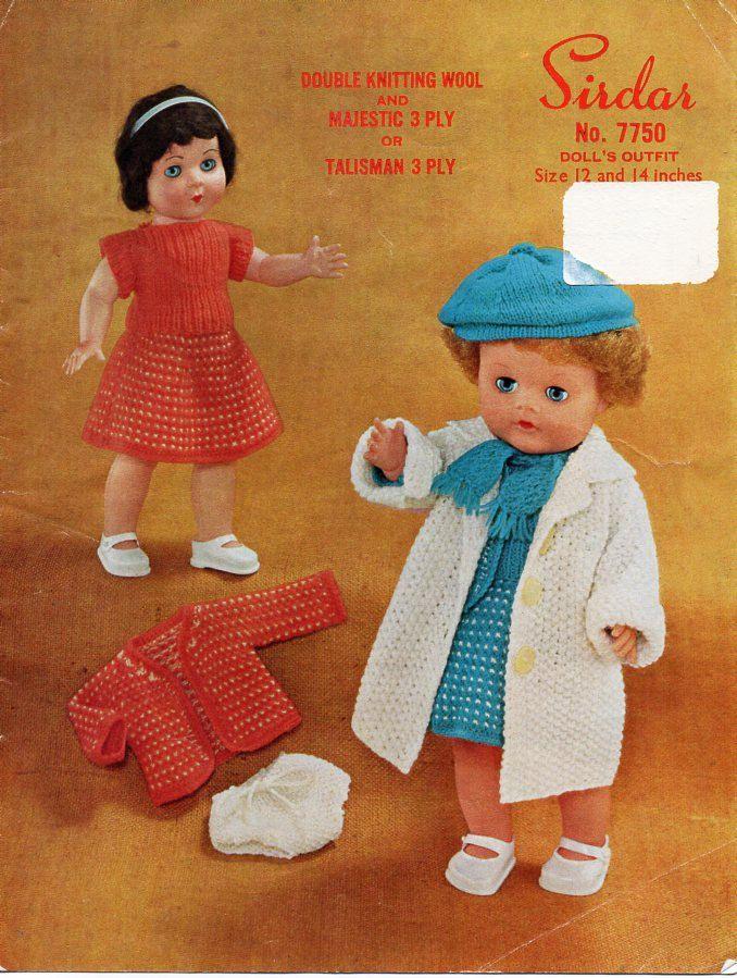 doll clothes knitting pattern pdf 12 14 inch doll DK & 3ply dolls ...