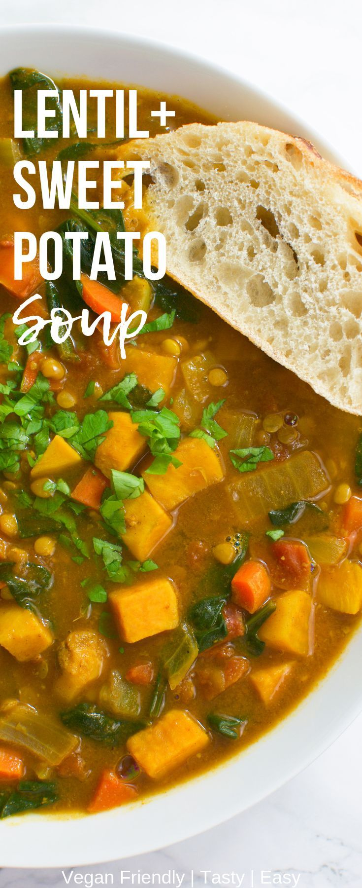 Lentil+Sweet Potato Soup | ICanYouCanVegan Lentil+Sweet Potato Soup