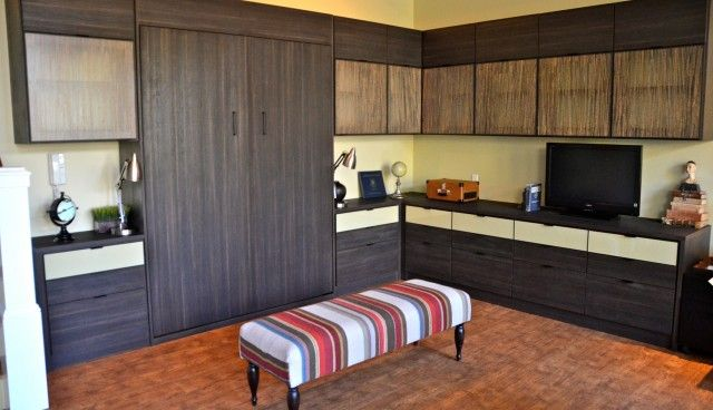 California Closets DFW   Home Office With Murphy Bed And Ecco Resins Within  Upper Cabinet Doors