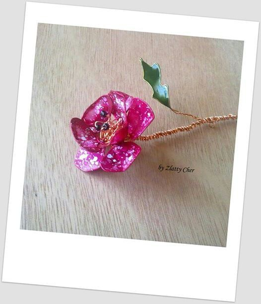 handmade flower with wire and nail polish