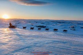 Robert Sorlie runs down the beach at dawn leaving the Koyuk checkpoint on Monday March 14th during the 2016 Iditarod.  Alaska    Photo by Jeff Schultz (C) 2016  ALL RIGHTS RESERVED: Robert Sorlie runs down the beach at dawn leaving the Koyuk checkpoint on Monday March 14th during the 2016 Iditarod.  Alaska    Photo by Jeff Schultz (C) 2016  ALL RIGHTS RESERVED