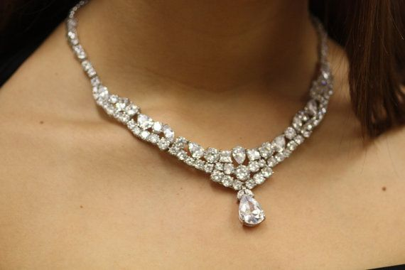 White CZ Thick bib Necklace Earrings Set Royal by simplychic93