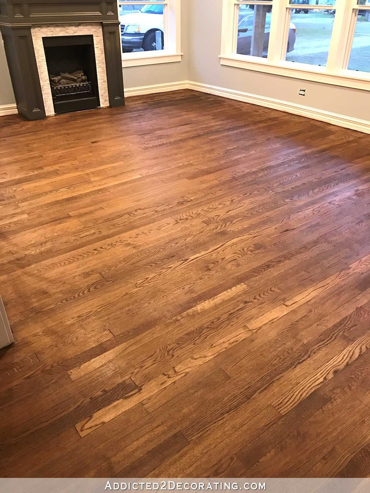Picture Showing Floors That Were Sealed With A 50 50 Mix Of Early American Stain And Polyurethane Red Oak Floors Red Oak Hardwood Floors Refinishing Floors
