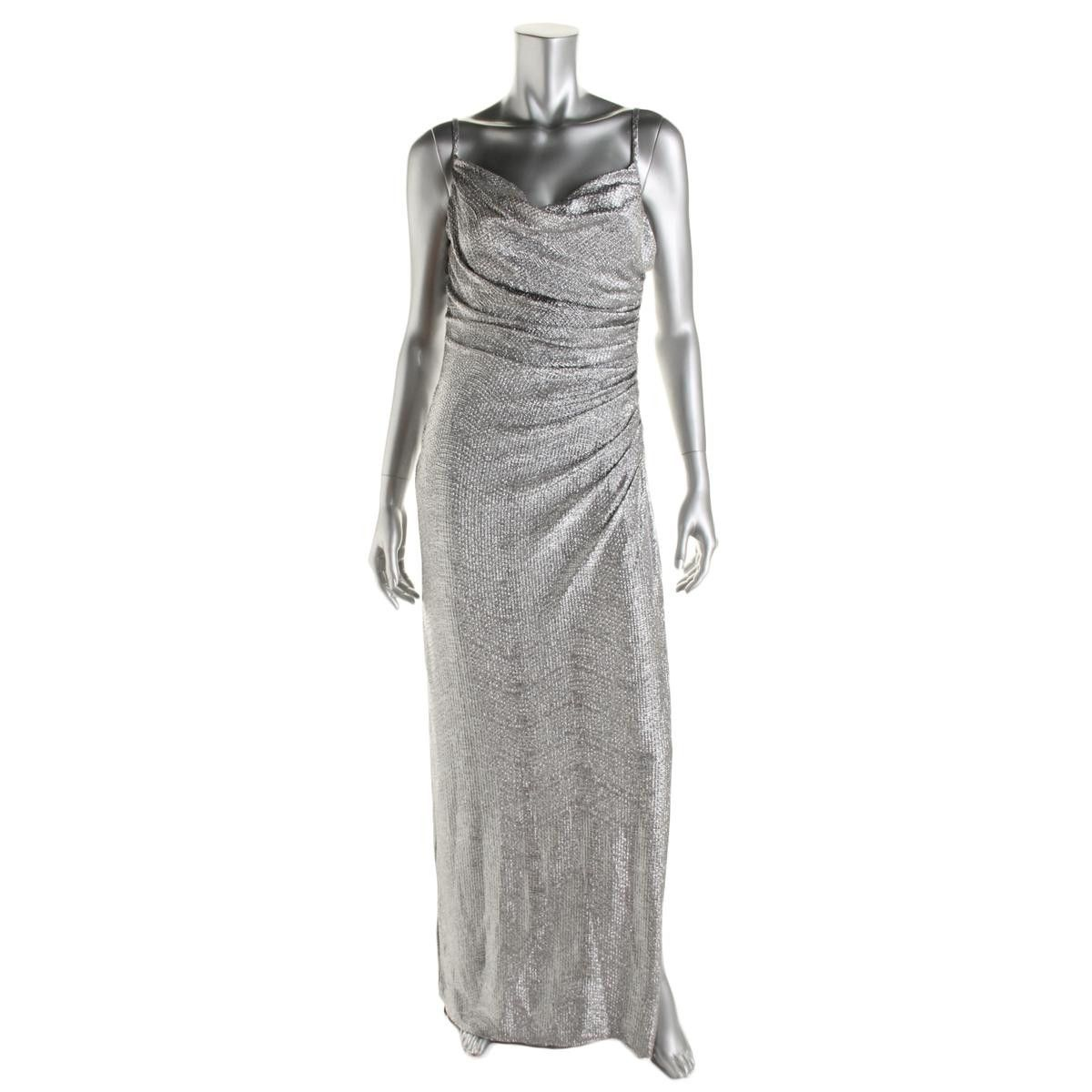 d19f999212 Laundry by Shelli Segal Womens Metallic Ruched Evening Dress ...
