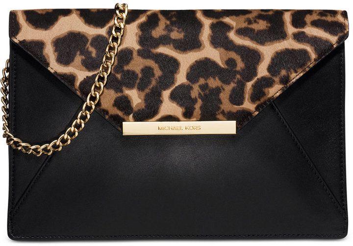 Michael Michael Kors Lana Envelope Clutch With Images Leopard Print Handbags Handbag Straps Genuine Leather Purse