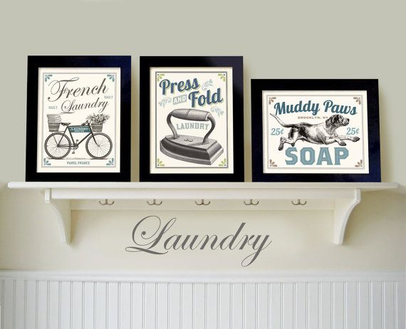Laundry Wall Decor laundry room decor, set 3 prints, french country home, bicycle art
