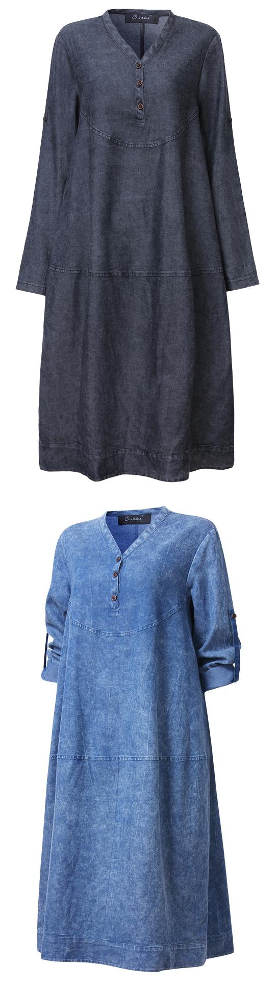 7f3391a96b  26.47 Plus Size Women Loose Solid Long Sleeve Denim Dress Jeans Kleid