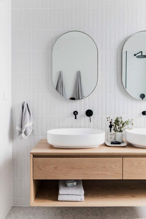 The concept for my Forever Home is Contemporary Australian and this means using soft geometric lines and curves, simple and minimal styling that feels relaxed and the combining of warm and cool colour palettes. Main Bathroom #simplebathroomdesigns