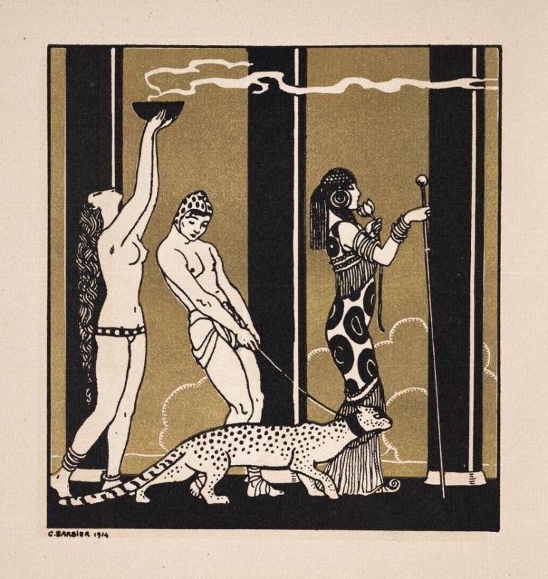 Leopard on a Leash  :  George Barbier 1914  Art Deco
