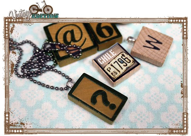 Scrabble and Letterpress tile necklaces