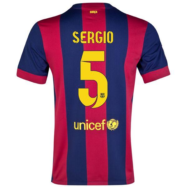 Sergio Busquets #5 Barcelona 15/16 Home Jersey