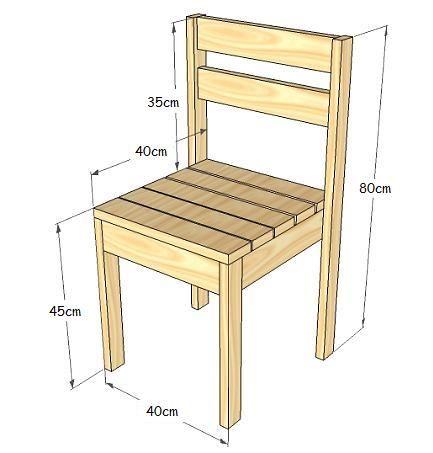 Sillas apilables con palets o madera reciclada vctry 39 s for Medidas de una silla de comedor