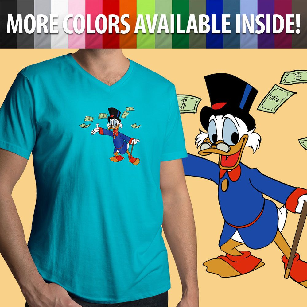 0549e8b7 Classic Disney Scrooge McDuck DuckTales Donald Duck Cool Mens Tee V-Neck T- Shirt